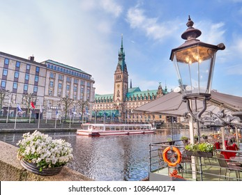 Town Hall in Hamburg city, lake Binnenalster, historical center