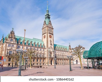 Town Hall in Hamburg city, market square near lake Binnenalster in Altstadt quarter, historical center