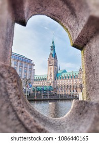 Town Hall in Hamburg city, near lake Binnenalster in Altstadt quarter