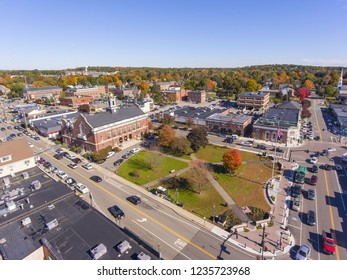 Town Hall and Historic building aerial view in Needham, Massachusetts, USA.
