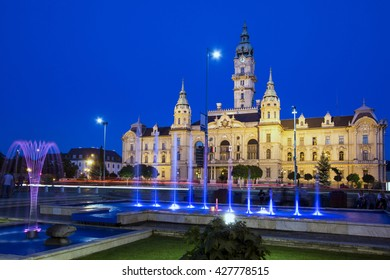 The town hall of the Hungarian city of Gyor at dusk