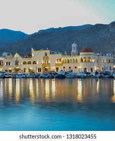 Town Hall of Kalymnos Island during the blue hour. Kalymnos is worldwide known as the sponge divers island.