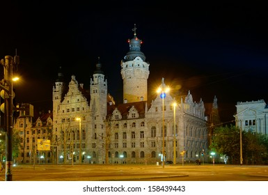 Town Hall in Leipzig at night