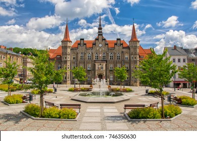 Town hall and Magistrat Square of Walbrzych - Waldenburg - city, Lower Silesia, Poland