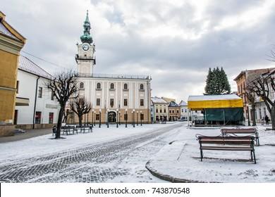 Town hall in main square, Kezmarok, Slovak republic. Winter scene. Architectural theme. Travel destination.