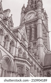 Town Hall, Manchester by Waterhouse (1877), England, UK in Black and White Sepia Tone