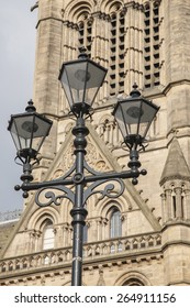 Town Hall, Manchester by Waterhouse (1877), England, UK with Lamppost