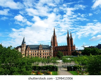 Town hall and market church in Wiesbaden in summer scenery