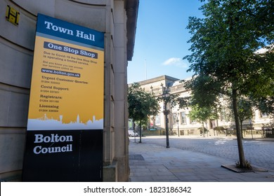 Town hall one stop shop closure sign in Bolton Lancashire July 2020