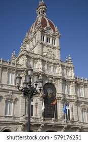 Town Hall, Plaza de Maria Pita Square, La Coruna, Galicia, Spain