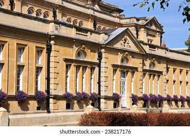 The town hall with pretty window boxes during the Summer, Cheltenham, Gloucestershire, England, UK, Western Europe.