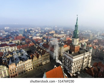Town Hall (ratusz)  and old market square in Poznan, Poland. Aerial view.
