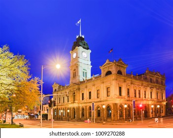 Town hall in regional town of Ballarat, Victoria. Sunrise agains blue sky with bright illumination of this historic architecture of gold rush region.