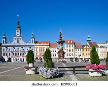 town hall and Samson fountain, Main square, Ceske Budejovice, Czech republic, Europa