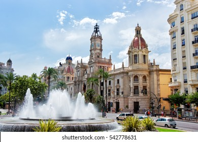 Town Hall and Square with fountain in Valencia, Spain