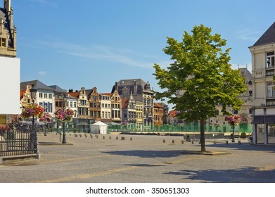 Town hall square with medieval buildings in Mechelen, Belgium