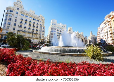 Town hall square in Valencia. Plaza de Ayuntamiento, Spain.