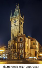 Town Hall Tower was built in the 14th century, Prague, Czech republic. At night