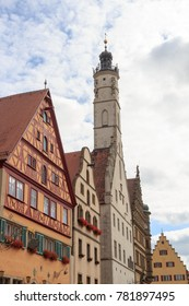 Town hall tower of medieval town Rothenburg ob der Tauber, Germany