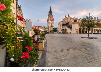 Town hall tower in the old square of  Krakow. Poland in summer morning