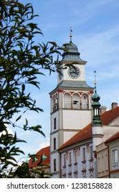 Town hall tower in Trebon, Czech Republic