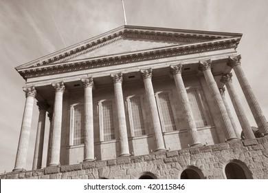 Town Hall, Victoria Square, Birmingham, England, UK in Black and White Sepia Tone
