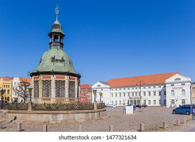 Town hall and Waterwork tower in historic Wismar, Germany