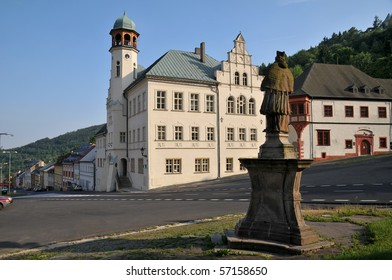 Town hall,St. Johann Nepomuk statue and royal mint in Jachymov