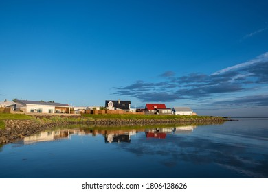 Town of Hofn in Hornafjordur in South Iceland on a sunny summer evening