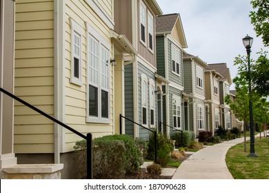 Town houses/ Town Houses/ Town housed in the subdivision of Mueller in Austin, Texas.