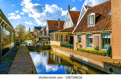 Town houses river canal view. River town scene. River town houses scene. River canal in little town
