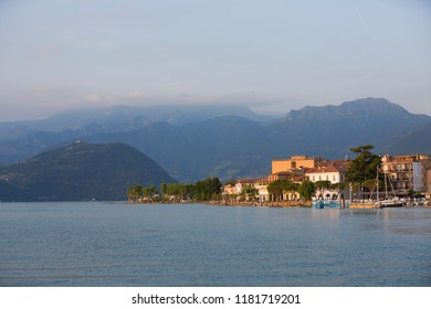 From the Town of Iseo in Lake Iseo, Italy, with Monte Isola in the Background