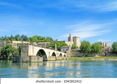 The famous medieval bridge in the town of Avignon, in southern France ( from Island of Barthelasse )