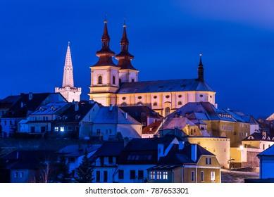 Town Kadan at night, Czech republic