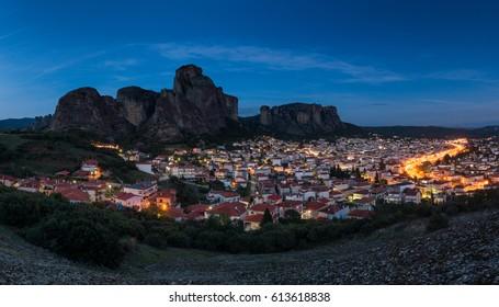 The town of Kalambaka at Meteora, Greece