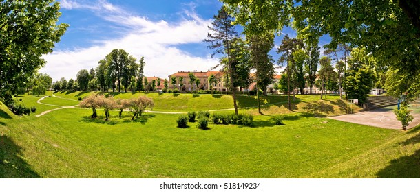 Town of Karlovac park panoramic view, northern Croatia