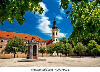 Town of Karlovac square architecture and nature, central Croatia