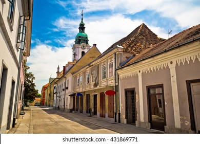 Town of Karlovac street and church, central Croatia