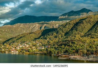 Town of Kotor, Montenegro on the Adriatic coast under wooded  limestone mountain cliffs
