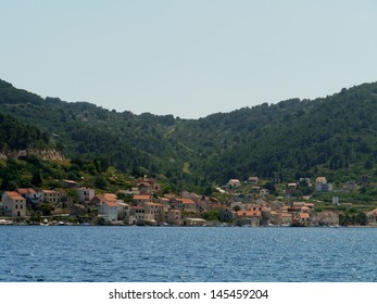 The town Kut at the bay of Vis on the Island Vis in the Adriatic sea of Croatia