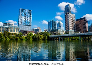 Town Lake Reflections on Perfect Summer Day in Downtown Austin Texas Frost Bank Tower in view and 1st Street Bridge Crossing the Colorado River