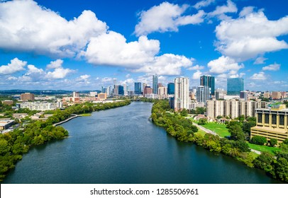 Town lake view over Austin Texas blue skies and blue waters of Lady bird lake along Colorado river skyline cityscape downtown capital city travel destination