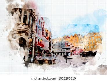 town life in watercolor style - Antwerpen