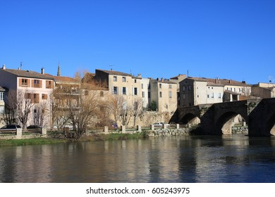 Town of Limoux and river Aude in Languedoc, South of France