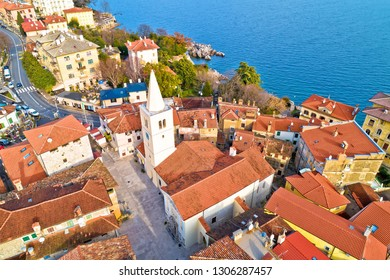 Town of Lovran historic center archutecture aerial view, Kvarner bay of Croatia