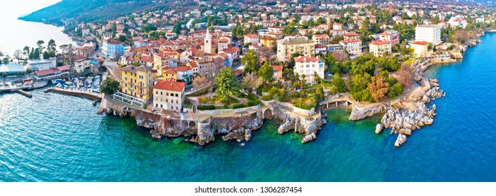 Town of Lovran and Lungomare sea walkway aerial panoramic view, Kvarner bay of Croatia