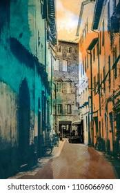 town Lucca, retro postcard