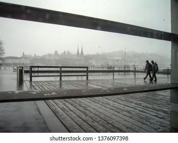 Town of  Lucerne in autumn snow, Lucerne, Canton of  Lucerne, Central Switzerland, Switzerland