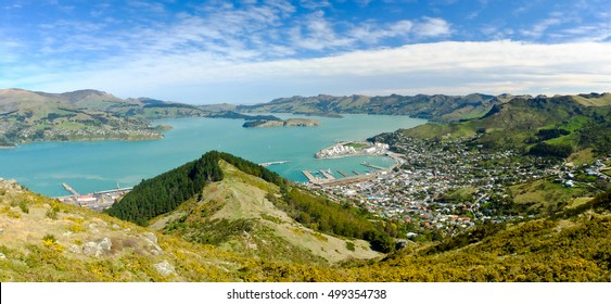 The Town of Lyttelton and Lyttelton Harbour. Port Hills, Christchurch, Canterbury, New Zealand