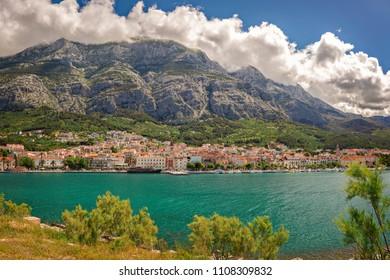 The town of Makarska and the Biokovo mountain range, Croatia.